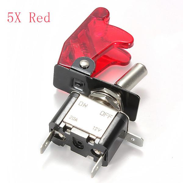 5x Røde Bil Cover LED SPST Toggle Rocker Switch Kontrol 12V 20A On / Off Bildele