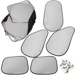 6PCS Silver Reflective Car Window UV Sunshade Sun Visor Cover Foldable
