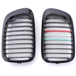 Front Gloss Black M-color Grilles Replacement For BMW E46 2 Door 98-02