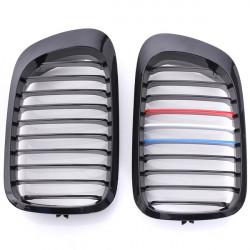 Front Gloss Black M-color Kidney Grilles For BMW E46 2 Door 98-02