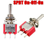 Red 3 Pin ON-OFF-ON 3 SPDT Small Toggle Switch AC 6A/125V 3A/250V Auto Parts