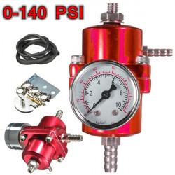 Röd Universal Bränsletrycksregulator Justerbar Tryckmätare
