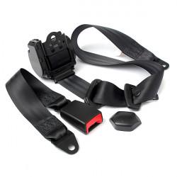 Universal Retractable 3 Point Auto Car Safety Seat Lap Belt Set Kit