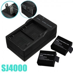 2 Dual Camera Battery Charger Travel Wall Adapter US For SJ4000