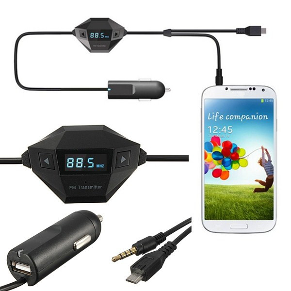 3,5 mm FM Mikro USB Kfz Ladegerät für Samsung Galaxy iPhone6 Auto Hifi & Monitore