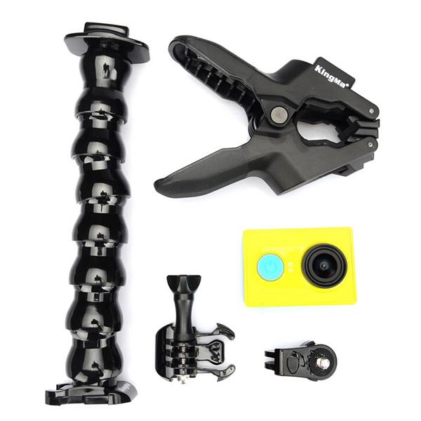 En Uppsättning Av Flexibel Clamp Serpentine Arm Clip för Xiaomi Yi Action Kamera Bilkameror DVR
