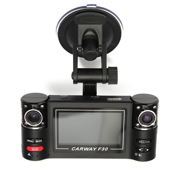 F30 HD Doppelobjektiv Auto Kamera Träger DVR Schlag Nocken Videogerät Autokamera DVR