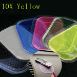 10x Yellow Color Non-slip Car Mat Pad Cushion for Phone Pen Glass Coin Car Interior Decoration