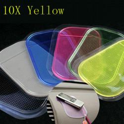 10x Gelb Farbe Anti Rutsch Auto Matten Auflage Kissen für Telefon Pen Glas Münze