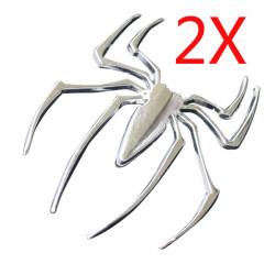 2 X 3D Spider Sticker Car Decorative Sticker Silver