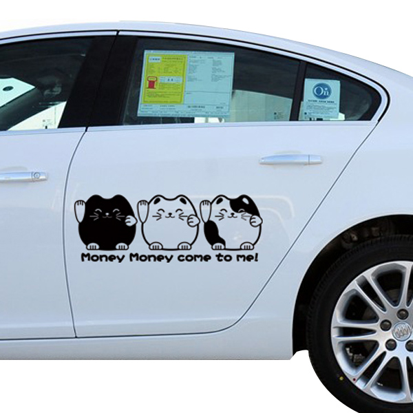 2x Cute Lucky Cat Bil Sticker Klistermærkers Funny DIY Dejlig Personlig Udvendig Styling