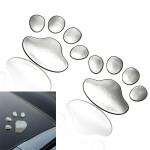 2 x Silver Plastic Bear Paw Footprints Car 3D Sticker Decor Car Exterior Decoration
