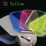 2x Yellow Color Non-slip Car Mat Pad Cushion for Phone Pen Glass Coin Car Interior Decoration