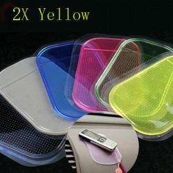 2x Gul Farve Anti Slip Bil Mat Pad Pude til Telefon Pen Glass Coin