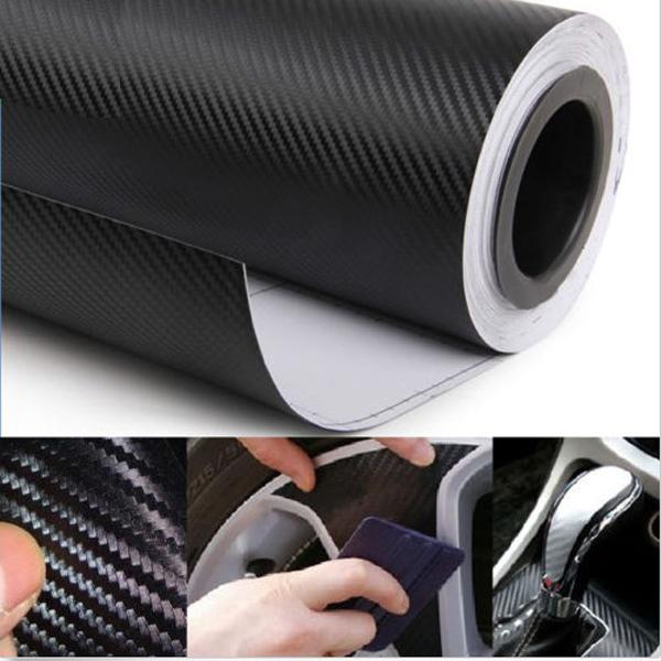30CM X 127cm DIY Personlig 3D Bil Sticker Klistermærker Carbon Fiber Film Vinyl Udvendig Styling