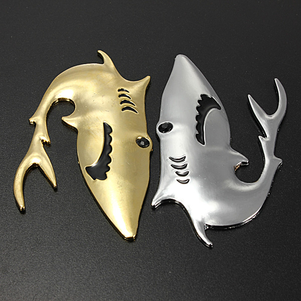 3D Bil Køretøj Metal Emblem Shark Adhesive Decals Badge Logo Sticker Klistermærker Udvendig Styling