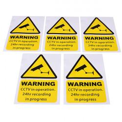 5stk Yellow Vindue Advarsel Sticker Klistermærkers Skilte Decal CCTV i Operation