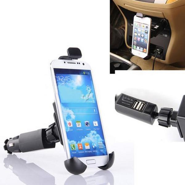 Adjustable Rotation Dual USB Cigarette Lighter Mount Holder Charger Car Interior Decoration