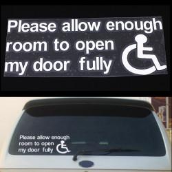 Lassen Sie genügend Raum Tür Vinylaufkleber Sign Autoscheiben Aufkleber So öffnen
