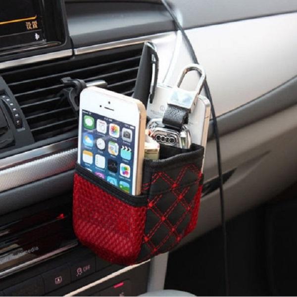 Auto Air Outlet Telefon Mesh Hållare Multi-Pocket Storage Pouch Väska Interiör