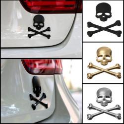 Bil 3D Skeleton Skull Bone Emblem Badge Logo Metal Mærkat Decal