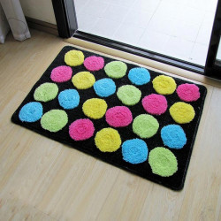 Colorful Circle Absorbent Bathroom Door Mats Slip Resistant Feet Mats