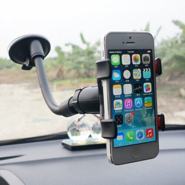 Dubbel Slangklämma Sucker Bil Mobile Navigation Bracket 360 Degrees Interiör