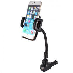 Dual 2 USB Ports Car Cigarette Lighter Charger Mount Holder For GPS