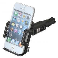 Dual USB Car Cigarette Lighter Phone Mount Holder Adjustable Rotation