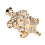 Guld STRASS Dekorerad 3D Sköldpadda Form Metall Bil Klistermärken Exteriör