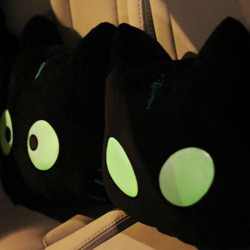 Luminous Car Pillow Headrest Noctilucent Cat Doll Auto Seat Pillows