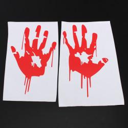 Röd Blodig Räcker Trycket Vinyl Dekal Bilfönster Klistermärke Zombie Skräck