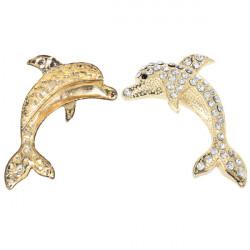 Rhinestone Dekorerad 3D Fisk Form Metall Bil Klistermärken Guld Silver