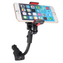 USB Bil Cigarettändaruttag Clip Mount Hållare till iPhone Samsung