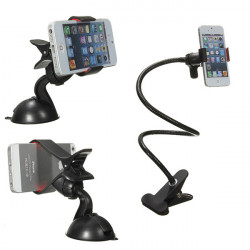 Universal 2in1 Car Desktop Long Arm Holder Steel Clip for Cellphone