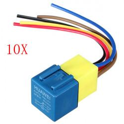 10x Automotive Relä med Kabelstammen och Socket 12Volt 30A 40A