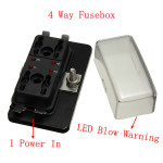 1 Power In 4 Way Circuit Fuse box Blade Fuse Box LED Blown Warning Car Electronics