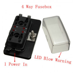 1 Power i 4 Way Circuit Sikringsboks Blade Sikring Box LED Blown Warning