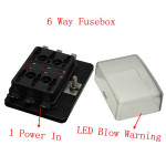 1 Power In 6 Way Schaltungssicherungskasten Blade Fuse Box LED Blown Warnung Autoelektronik