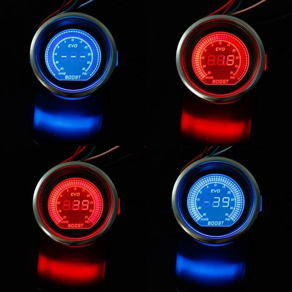 2 Inch 52mm PSI Turbo Car LED Vacuum Boost Meter Gauge Black Car Electronics