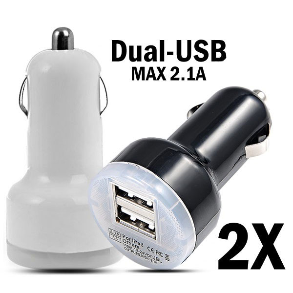 2X DC 12-24V Dual-USB Mini Car Charger Adapter For iPad iPhone iPhone 5 5S 5C