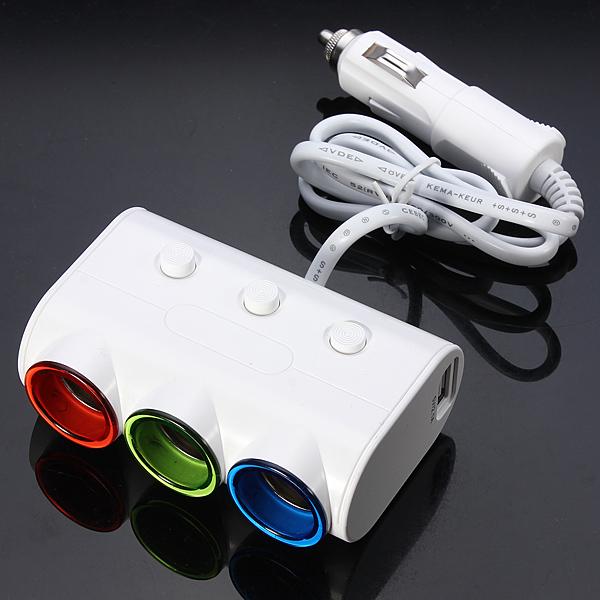 3in1 Auto Zigarettenanzünder Splitter Adapter Ladegerät Autoelektronik