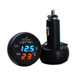 3 in 1 Car Thermometer Car Voltage Detection Table USB Port Charging Car Electronics
