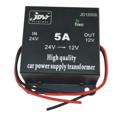 5A JD1205 DC 24V to 12V Car Power Supply Converter - Black