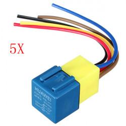 5x Automotive Relä med Kabelstammen och Socket 12Volt 30A 40A