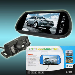 7inch Trcuk LCD Mirror Monitor+IR Wireless Rearview Camera Reversing