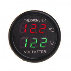 Auto Car 12V Display Dual LED Digital Thermometer Voltmeter 2 In 1