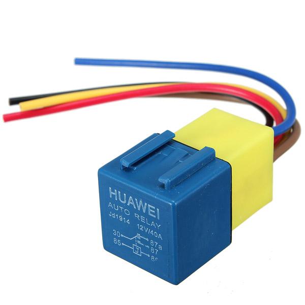 Automotive Relä med Kabelstamm och Uttag 12Volt 30A 40A Bilelektronik