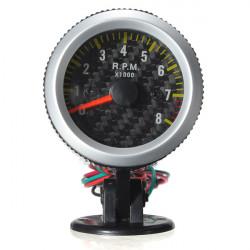 Car Fordon Gul LED Rev Varvräknare Mätare RPM Kolfiber Face