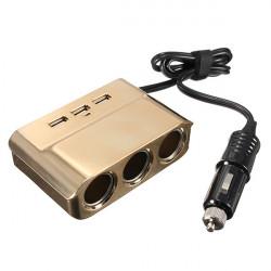 Car Cigarette Lighter 3 Socket Plug USB Port Power Adapter Charger